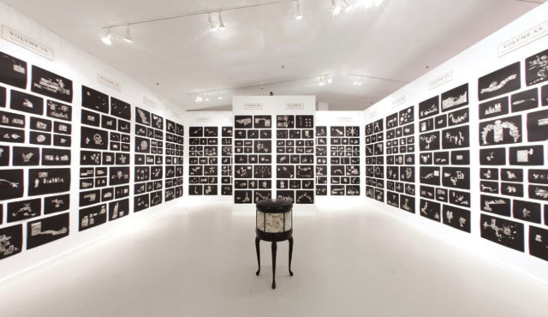 The Funk & Wag from A to Z (installation view), 2012; Excised printed pages from The Universal Standard Encyclopedia, 1953–56, by Wilfred Funk, Inc., archival water-based glue, paper, 524 collages; Courtesy of the artist