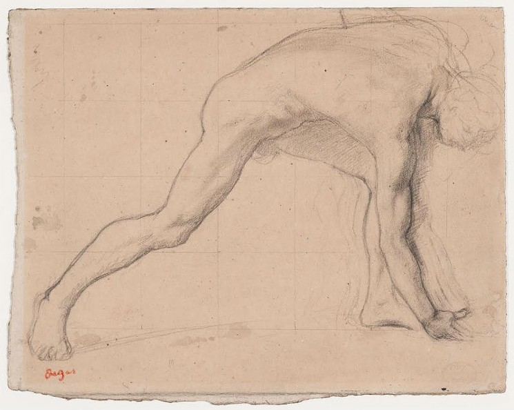 "Edgar Degas, Etude pour ""La Fille de Jephte,"" c. 1859. Graphite, traces ink wash on paper, 8 7/8 x 11 7/16 in. (19.3 x 25.2 cm)."